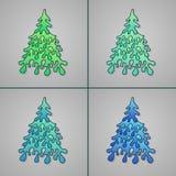 Комплект рождественских елок нарисованных рукой иллюстрация вектора