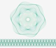 Комплект: Розетка и граница для сертификата или диплом картины Guilloche, изолированный, зеленый Стоковые Фото