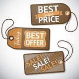 Комплект розничных бирок продажи картона иллюстрация вектора