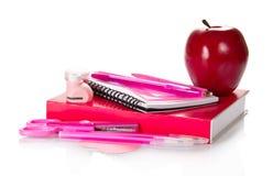 Комплект розовых аксессуаров школы Стоковое Изображение