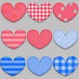 Комплект розовых и голубых сердец сделанных из ткани Стоковые Изображения RF