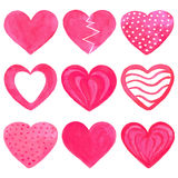 Комплект розовых сердец акварели Стоковое Фото