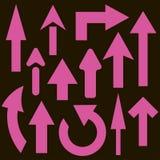 Комплект 13 розовых стрелок Стоковые Изображения RF