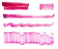 Комплект розовых ходов щетки акварели Стоковые Изображения