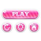 Комплект розовых striped стекловидных кнопок вектора Стоковая Фотография RF