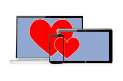 комплект романтичных электронных устройств стоковая фотография rf