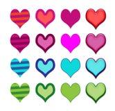 Комплект родовых значков или кнопок сердца стоковое изображение