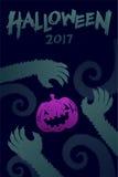 Комплект 2017, рука шаблона предпосылки хеллоуина изверга оборотней Стоковое Изображение RF