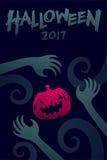 Комплект 2017, рука шаблона предпосылки хеллоуина изверга дьявола Стоковое фото RF
