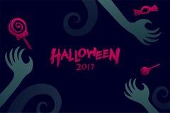 Комплект 2017, рука шаблона предпосылки хеллоуина изверга дьявола Стоковая Фотография RF