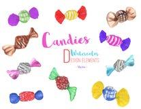 Комплект руки покрасил конфеты акварели, вектор Стоковое Фото