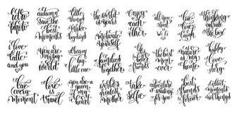 Комплект руки 25 помечая буквами мотивационные и вдохновляющие цитаты p Стоковое фото RF