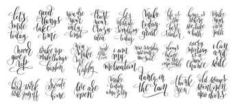 Комплект руки 25 помечая буквами мотивационные цитаты Стоковые Изображения