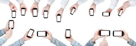 Комплект рук бизнесмена с мобильными телефонами Стоковое Изображение RF