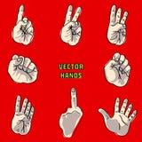 Комплект рук в различных положениях Стоковые Изображения