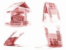 Комплект русского рубля красного цвета 5000, изолированный дом, белая предпосылка рублевки Стоковая Фотография RF
