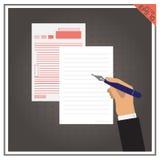 Комплект ручки дела вектора бумажной страницы белый Стоковое Фото