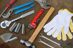 Комплект ручных резцов или инструменты работы предпосылка комплекта Стоковая Фотография RF