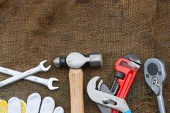 Комплект ручных резцов или инструменты работы предпосылка комплекта Стоковое Фото