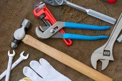 Комплект ручных резцов или инструменты работы предпосылка комплекта Стоковое Изображение