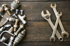 Комплект ручных резцов или инструменты работы предпосылка комплекта, инструменты в работе индустрии для общей работы или трудная  Стоковое Изображение RF