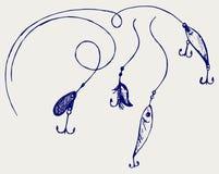 Комплект рыболовных принадлежностей Стоковое Изображение RF