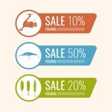 Комплект рыболовных снастей иллюстраций для продажи Стоковые Фотографии RF