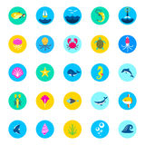 Комплект 25 рыб значков моря морских и значков моря значков стиля природы плоских, морских значков, красивых значков, значков рыб иллюстрация вектора
