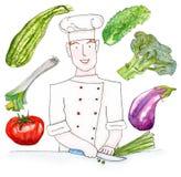 Комплект рыжеволосого шеф-повара с овощами - иллюстрации акварели на белой предпосылке бесплатная иллюстрация