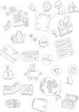 Комплект рынка и ходя по магазинам онлайн doodles Стоковая Фотография RF