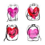 Комплект рюкзаков doodle с сердцами Бесплатная Иллюстрация