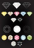 Комплект самоцвета иллюстрации вектора диамантов; Кристаллическое роскошное искусство собрания ювелирных изделий Стоковое Фото