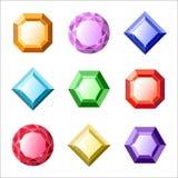 Комплект самоцветов вектора и значков диамантов Стоковые Изображения RF