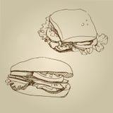 Комплект сандвича эскиза еды вектора нарисованный рукой Стоковое Изображение