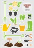 Комплект садовничая инструментов весны, иллюстрация вектора Стоковое Изображение RF
