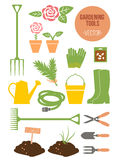 Комплект садовничая инструментов весны, иллюстрация вектора Стоковое фото RF
