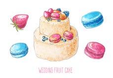 Комплект свадебного пирога и ягоды акварели Стоковые Изображения RF