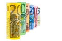 Комплект свернутых банкнот евро Стоковые Фото