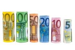 Комплект свернутых банкнот евро Стоковое Изображение RF