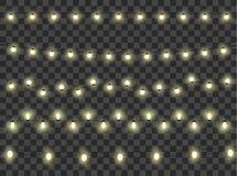 Комплект света гирлянд украшение на прозрачной предпосылке вектор Стоковая Фотография RF