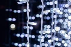 Комплект светов рождества гирлянды Яркие света праздника Элементы праздника вектора Стоковые Изображения RF