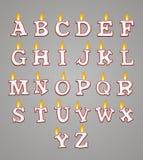Комплект свечи алфавита с красным цветом Стоковые Фото