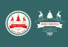 Комплект северного оленя силуэта дизайна рождества Стоковые Изображения