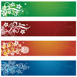 Комплект 4 сезонных знамен цветков и снежинок Стоковые Изображения