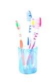 Комплект семьи зубной щетки Стоковая Фотография