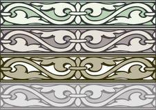 Комплект 6 серебра стиля декоративных границ винтажного Стоковые Изображения