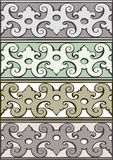 Комплект 5 серебра стиля декоративных границ винтажного Стоковая Фотография