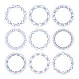 Комплект серебряных цепных рамок с диамантами Стоковые Изображения RF