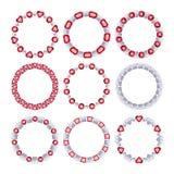 Комплект серебряных цепных рамок с рубинами Стоковые Фото
