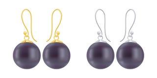 Комплект серег с круглыми черными жемчугами Стоковые Изображения